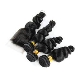 Discount three way part closure weave - 9A 4X4'' Loose Wave 3 Bundles with Free Middle Three Way Part Lace Closure Peruvian Human Hair Weaves With Top