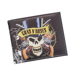 China Vintage Designer Leather Men Wallets Wholesale American Hard Rock Band GunsN'Roses Wallet Skull Gun Printing Short Coin Wallet Holder Purse cheap printed wallet men suppliers