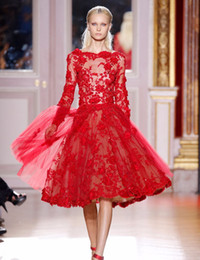 cheap prom dresses china Australia - Zuhair Murad Red Lace Prom Dress Knee Length A-Line Boat Neck Appliques Beaded Illusion Long Sleeves Evening Party Dress Cheap Made In China