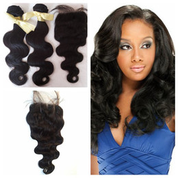 $enCountryForm.capitalKeyWord Canada - Unprocessed Human hair Weave 1B Body Wave with a free Lace Closure Middle Part 4x4 Perfect Hair Extensions for Party G-EASY