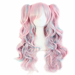 China WoodFestival double ponytail clip wig wavy long wigs for woman heat resistant fiber wig purple pink white black synthetic hair three sets suppliers
