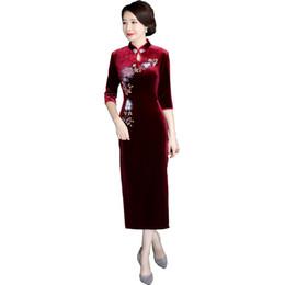 $enCountryForm.capitalKeyWord UK - Shanghai Story flower Print Long Qipao Chinese Dress Autumn Chinese style Oriental dress Chinese Womens Clothing 3 4 Sleeve Velvet cheongsam