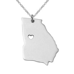Georgia State Map Necklace Charm Us Shaped Necklace For Women Personalized Neckalce S925 Silver Pendant Necklace With A Heart Handmade Jewe