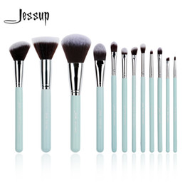 lit cosmetics 2020 - Jessup Brand 12pcs Blue  Silver Professional Makeup Brushes Set Beauty Make Up Tools Cosmetics Kit Eyeshadow Foundation