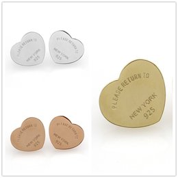 heart shape studs Canada - High Quality Classic Brand English Letters Heart Shaped Titanium Stainless Steel Gold Silver Stud Earrings For Women Jewelry