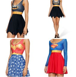 Barato Peças De Vestuário Mulheres-SUPERMAN Saia WONDER WOMAN Swimsuit Super MAN BATMAN Swim Wear One-Piece Beach 3D Dress Impressão digital Red Black LNSkd