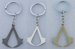 assassin creed film großhandel-12 teile los Mode Film Anime Cosplay Assassins Creed Deiss Edelstahl Anhänger Schlüsselanhänger Männer Keychain Schmuck