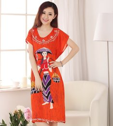 270fcc6360 Wholesale-High Quality Female Cotton Robe Dress Gown Women s Summer Lounge Sleepshirt  Nightwear Novelty Print Sleepwear One Size A-127