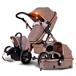 2017 new arrival brands luxury baby stroller 3 in 1 high landscape kids baby pram with car seat poussettes 3 en 1 free shipping