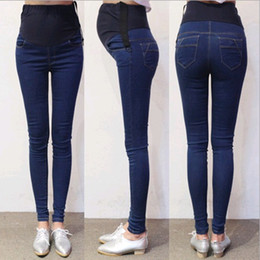 10570266fa97e Spring Autumn Denim Maternity Jeans Belly Pants Clothes for Pregnant Women  Waist Adjustable Pencil Pregnancy Trousers Wear