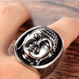 $enCountryForm.capitalKeyWord Canada - Men's Stainless Steel Buddha Head Ring china style silver Size 7-12 Avivahc 93