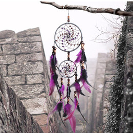 Wholesale Romantic Purple Dream Catcher Net With Feathers Hanging Decoration Dreamcatcher Wind Chimes For Car Kids Bed Room Wall Hanging D360L