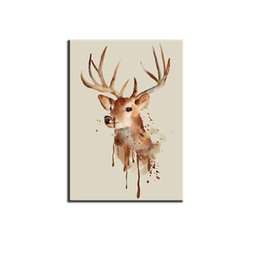 40*60Cmcm Matte Canvas Wall Art Spray Paintings Unframed Simple Cartoon  Artistic Paint Moose Ton Sepia Wall Decor For Hotel Living Room