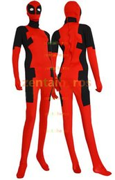 Costume Lycra Spandex Rouge Pas Cher-Costume Deadpool Costume rouge et noir Spandex Lycra Halloween Party Cosplay Zentai Suit