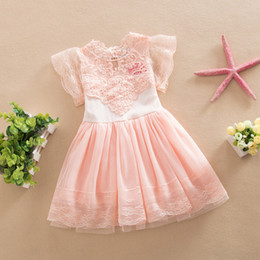 chiffon mesh flowers wholesale Canada - 2016 latest design baby girls dresses children summer clothes short sleeve lace flower mesh dress for girl kids boutiques