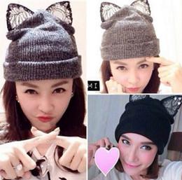 Fallen Hats Australia - Lace diamond lovely Han edition cat ears wool knitting hat women fall winter days For Women Girls Wool Hat