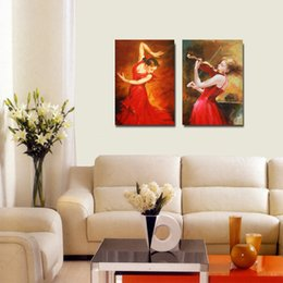 Photos De Robe De Danse Pas Cher-2 Panels Dance Art Abstrait Sexy Flamenco Dancer Canvas Peinture Sexy Red Dress Spanish Lady Girl Photos pour le salon Décoration intérieure Cadeau W