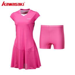 Оптовая продажа-Kawasaki Марка дамы спорт Теннис платье для женщин Девушки Quick Dry дышащий твердые Teniss платья спортивная одежда синий красный SK-172701