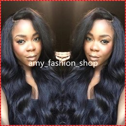Cheap deep wave virgin half wigs online shopping - 2016 Virgin Brazilian Hair Silk Top Full Lace Wigs Cheap Human Hair Wavy Natural Hairline Glueless Wigs