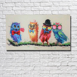 Cheap Large Abstract Canvas Art NZ - Free shipping cartoon birds oil painting wall pictures handmade good quality large size canvas art cheap