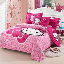 $enCountryForm.capitalKeyWord Canada - Wholesale- 4pcs bedding sets double single twin full queen king size duvet cover bed sheet pillowcases linen cartoon princess style pink