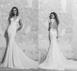 Discount satin keyhole back wedding dress - Berta 2016 Garden White Lace Wedding Dresses Keyhole Back with Short Sleeves Deep V Neck Mermaid Plus Size Spring Bohemi