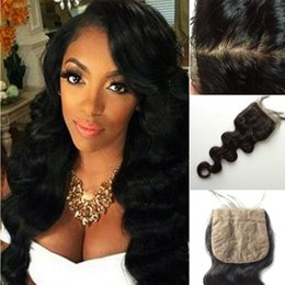 Discount best tangle free human hair Cheap Price Silk Closures Body Wave Virgin Human Hair No Tangle and No Shedding Natural Black Best Hair Closure silk-001