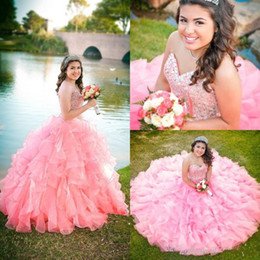 Promo Organza Blue Pas Cher-Pink Blue Organza Ball Gown Robes Quinceanera 2017 Nouvelle Sweetheart Beaded Sequins Tier Ruffles Long Junior Sweet 16 Prom Party Pageant Gown