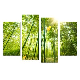 China Canvas Print Wall Art Painting For Home Decor Beautiful Green Bamboo Forest 4 Pieces Panel Pictures Prints On Canvas Modern Giclee suppliers