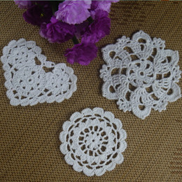 coasters cup mats disc Canada - 30pcs 8-13cm White Crocheted Doilies Placemats for Wedding Crochet applique decor Tablecloth mats Vintage Coaster Pads Disc Cup Mat aa3h12