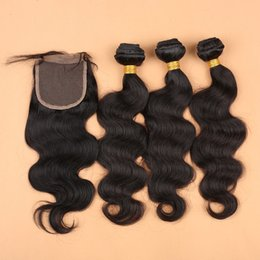 "natural way hair extensions NZ - Brazilian Malaysian Peruvian Hair Extensions Natural Color Body Wave 1PC 4 Way Part Top Lace Closure 4""x4"" With 3PCS Hair Bundles"
