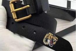 Ingrosso Colore nero caldo Lusso Cinture di design di alta qualità Moda tigre modello animale fibbia cintura uomo donna cintura ceinture G attributo opzionale