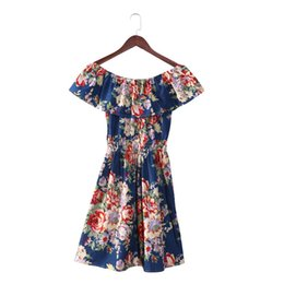 2b05ff5353fc1 Wholesale- Plus Size Women Dress Floral Printing Summer Dress Slash Neck Off  Shoulder Dress Women Vestidos Casual Dresses Robe Femme