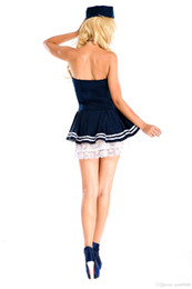 costumes stewardess 2019 - 2015 I-Glam Costume Cosplay Stewardess Girl with Complete Night Club Dance Dress The new blue navy outfit role plays a p