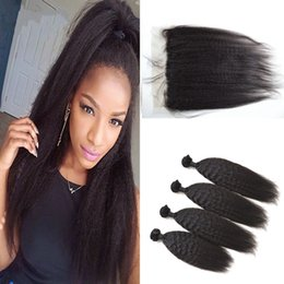 italian yaki lace closure 2019 - G-EASY Mongolian lace frontal closure with 4 bundles kinky straight virgin human hair weave coarse italian yaki lace fro