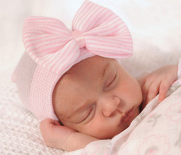 BaBy hair Beanie online shopping - Fashion Newborn Knit Beanie Hats Baby Unisex Big Bows Caps Toddler Kid Cotton Crochet Wraps Infant Unisex Hair Accessories