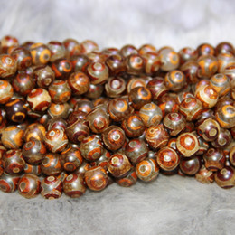 Gemstone Pendant Connector Australia - 10mm 38pcs Natural Red Tibetan Dzi Agate Beads, Ball Beads Gemstone Quartz Druzy Agate Necklace Pendant Jewelry Make Connector