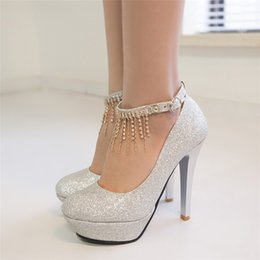 New 2016 Single Sequined Shoes Red Thick With Ultra High With A Word Buckle  Silver Gold Bridesmaid Bridal Wedding Shoes For Womenu0027s Shoes