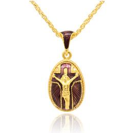 Mão ofício esmalte Religião Jesus Cruz pingente charme colar Faberge Egg ESTILO Pingente para o dia da Páscoa em Promoção