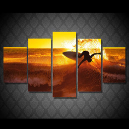 Canvas Prints Free Shipping Canada - 5 Pcs Set Framed Printed golden waves Surfing Painting Canvas Print room decor print poster picture canvas Free shipping NY-5892