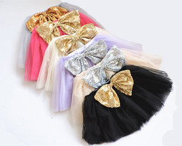 Chinese  2016 Top Quality candy color kids tutus skirt dance dresses soft tutu dress ballet skirt children gold silvery sequin bow pettiskirt clothes manufacturers