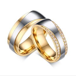 polished rings wholesale stainless Canada - 5 pairs per Lot 7mm Gold Plating Couples Rings 316 Stainless Steel Rings High Polish CR-065