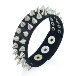 China Gothic Delicate Cuspidal Spikes Rivet Cone Stud Cuff Black Leather bracelets & bangles Punk Bracelet for women men jewelry S266 cheap rivet spikes stud suppliers