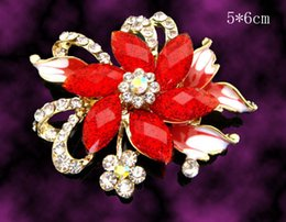 Red Indian Costumes Australia - Wholesale hot sell Women fashion flower zinc alloy rhinestone brooches costume jewelry Free shipping 12pcs lot Mixed colors BH604