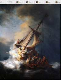 Painting Christ Canada - Rembrandt - Christ on sail boat with huge ocean waves - storm,Pure Hand-painted portrait Art Oil painting On canvas In Any size customized
