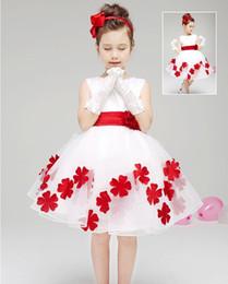Großhandel Pretty Baby Kinder 3D Rose Blume Kleid Mädchen ärmelloses Pailletten Kleid Sommer Prinzessin Kleid Bogen Blumen Chiffon Kleid mit Gürtel