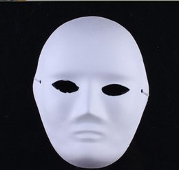 Adult white blAnk fAce mAsk online shopping - Eco Friendly DIY woman man white face Masks Hand Painted suit for Halloween Masquerade Party cosplay masks blank face masks