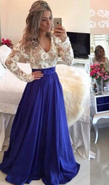 Plus Size Teen Dresses Canada - Royal Blue Modest Prom Dresses With Long Sleeves V Neck Pearls Illusion Back Lace Taffeta Elegant Teens Prom Gowns Full Sleeves Cheap Sale