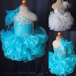 Vestidos Pageant criança Azul Um Ombro Lace Up Cupcakes Menina Pageant Vestidos de Cristal Frisado Rendas Organza Ruffles Little Kids Prom Dress em Promoção