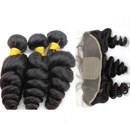 $enCountryForm.capitalKeyWord UK - 13x4 Lace Frontal Closure With Bundles Loose Wave 8A Brazilian Hair With Closure Silk Base Frontal With Bundles 4Pcs Lot